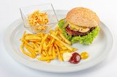 Fast Food Menu. Hamburger, French Fries And Salad. Burger With Beef Stake, Cheese Onion And Pickle.  poster