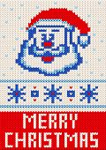 Merry Christmas Knitting Pattern. Merry Christmas And New Year Seamless Knitted Pattern With Letteri poster