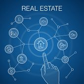 Real Estate Concept, Blue Background. Property, Realtor, Location, Property For Sale Icons poster