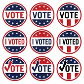Vote And I Voted Political Election Logo Set In Red White And Blue Isolated Vector Illustration poster