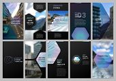 Creative Social Networks Stories Design, Vertical Banner Or Flyer Templates With Hexagonal Design Bl poster