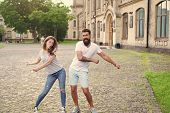 Happy Together. Couple In Love Walking Having Fun. Couple Relaxing Enjoying Each Other. Man Bearded  poster