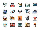 Set Of Cyber Security Color Line Icons. Cybercrime, Spy Agent, Firewall And More poster