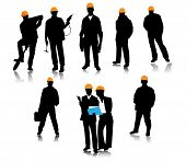 foto of hammer drill  - The silhouettes of the people of the construction profession - JPG