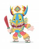 Cute Cartoon Style Of A Man Wearing Thai Cultural Phi Ta Khon Mask Holding Wooden Red Sword Illustra poster