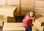 Happy Child Cardboard Box. Purchase Of New Habitation. Cardboard Boxes - Moving To A New House. Repa poster