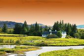 Autumn landscape of Pingvellir National Park, Iceland, Europe poster