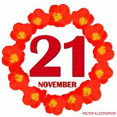 November 21 Icon. For Planning Important Day. Banner For Holidays And Special Days With Flowers. 21s poster