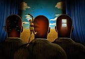 Surreal painting. Men with dreams in their head stands before drapes. Field behind drapes. 3D render poster