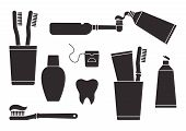 Toothpaste And Toothbrush. Oral Care And Hygiene, Dentistry And Tooth Cleaning. Black Silhouettes Is poster