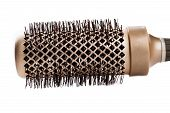 Close Up Of Brown Round Hairbrush. Professional Round Hairbrush On White Background. poster