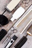 Hairdresser Set For Men On Wooden Background. Various Hairdresser Tools On Rustic Wood Table. Flat L poster