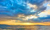 Scenic sunset over the sea  -- Panoramic sundown seascape - landscape poster