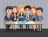 Business Characters Meeting Vector Concept. Business Character Office Employee Team In Meeting For M poster