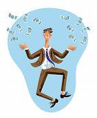 Happy Millionaire Flat Vector Illustration. Businessman In Suit Jumping Under Money Rain Cartoon Cha poster