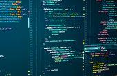 Javascript Source Development Code. Script Language For Software Development. Digital Java Code And  poster
