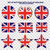 Made In England Stickers. Bright Set Of Stickers With Flag Of England. Vector Illustration With Flag poster