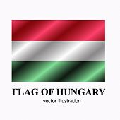 Bright Button With Flag Of Hungary. Happy Hungary Day Banner. Vector Illustration. poster