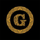 Premium, Elegant Capital Letter G In A Round Frame Is Made Of Floral Ornament. Baroque Style.elegant poster