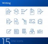 Writing Icons Simple Icons Collection On White Background. Notes, Laptop, Newsletter, Notepad. Docum poster