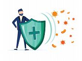 Immune System Vector Icon Logo. Health Bacteria Virus Protection. Medical Prevention Human Germ. Man poster
