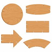 Wooden Planks Set, Vector Illustration Isolated On White Background. Cartoon Wood Texture For Signs  poster