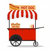 Hot Dog, Street Cart. Fast Food Hot Dog Cart And Street Hot Dog Cart. Hot Dog Cart Street Food Marke poster