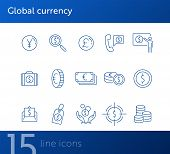 Global Currency Icon Set. Dollar, Cash, Tax. Finances Concept. Can Be Used For Topics Like Convertin poster