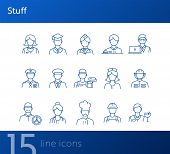 Stuff Icons. Set Of Line Icons On White Background. Sheriff, Welder, Graduate. Job Concept. Vector I poster