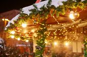 Christmas Decorations On The Street, Colorful Holiday Bokeh Lights, City Night Illumination, Abstrac poster