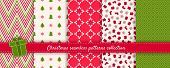 Christmas Seamless Patterns Collection. Vector Set Of Winter Holiday Background Swatches. Cute Moder poster