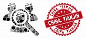Mosaic Explore Patients And Grunge Stamp Seal With China, Tianjin Text. Mosaic Vector Is Formed With poster
