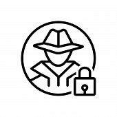 Black Line Icon For Anti-theft Anti Theft  Protection Hacker Investigate poster
