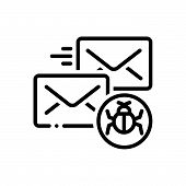 Black Line Icon For Infected-mail Infected Mail Malware Protection Vulnerability poster