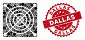 Mosaic Mining Asic Hardware And Corroded Stamp Seal With Dallas Phrase. Mosaic Vector Is Formed With poster