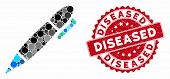 Mosaic Pen And Rubber Stamp Seal With Diseased Caption. Mosaic Vector Is Designed With Pen Icon And  poster