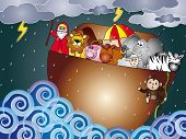 stock photo of noah  - illustration of noah ark with animals on the rain - JPG