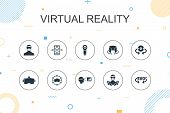Virtual Reality Trendy Infographic Template. Thin Line Design With Vr Helmet, Augmented Reality, 360 poster
