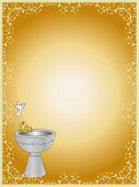 stock photo of baptism  - illustration of baptism card with baptistery and dove - JPG
