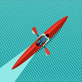 Rowing Man. Top View Of Kayak Boat. Canoe Race Vector Illustration, Flat Style. poster