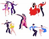 A Set Of Images Of Dancing Couples On The Latin American Dance Program. Couples Dance Samba, Rumba,  poster