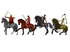 stock photo of antichrist  - The Four Horsemen of the Apocalypse on a white background - JPG