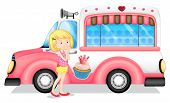 foto of ice-cream truck  - Illustration of a young girl beside the pink bus on a white background - JPG