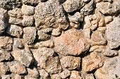 picture of fieldstone-wall  - Close up of the wall made of natural stone - JPG