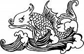 Постер, плакат: Рыбы на волне