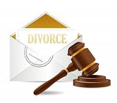 stock photo of divorce-papers  - divorce decree document papers and gavel illustration design over a white background - JPG