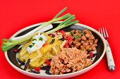 pic of enchiladas  - Spicy chicken enchiladas in cheese sauce with sour cream and served with Spanish Rice and Borrocho Beans against a red background - JPG