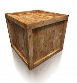 picture of wooden pallet  - wooden box crate on white background - JPG