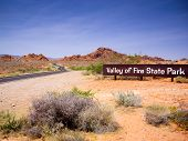 stock photo of valley fire  - Entrance sign for Valley of Fire State Park Nevada USA - JPG