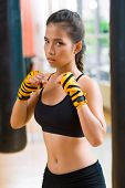 picture of kickboxing  - Vertical portrait of a kickboxing girl being ready to punch - JPG